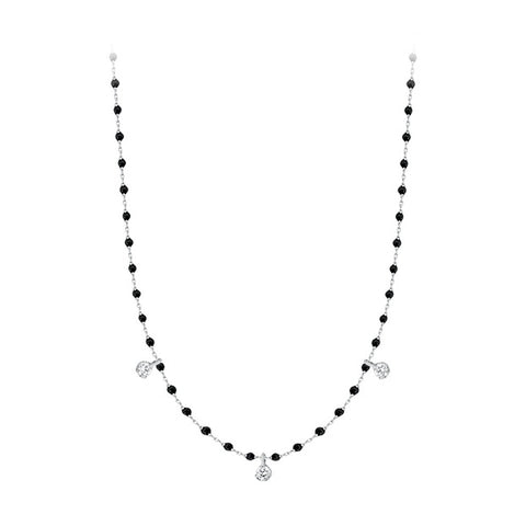 mini gigi necklace 3 diamonds 0.12kt black (18k WG) 16.5""