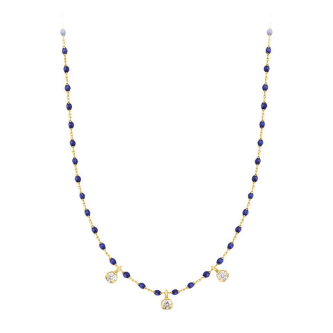 mini gigi necklace 3 diamonds 0.12kt lapis (18k YG) 16.5""