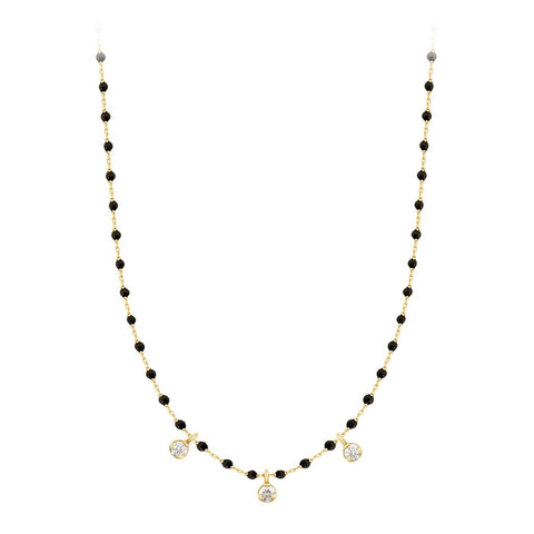 mini gigi necklace 3 diamonds 0.12kt black (18k YG) 16.5""