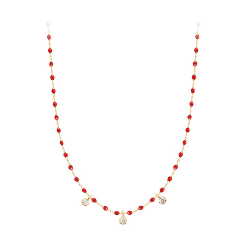 mini gigi necklace 3 diamonds 0.12kt poppy (18k YG) 16.5""