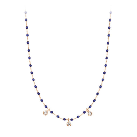mini gigi necklace 3 diamonds 0.12kt lapis (18k RG) 16.5""