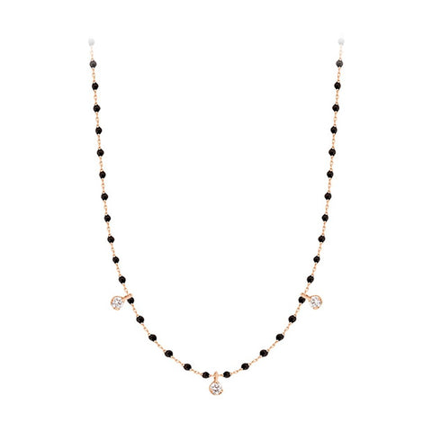 mini gigi necklace 3 diamonds 0.12kt black (18k RG) 16.5""