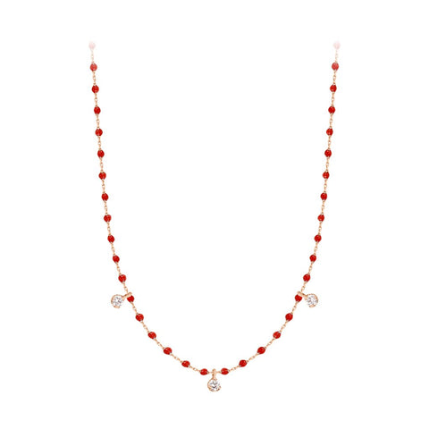 mini gigi necklace 3 diamonds 0.12kt poppy (18k RG) 16.5""