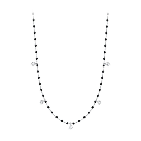 mini gigi necklace 5 diamonds 0.20kt black (18k WG) 22""