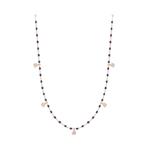 mini gigi necklace 5 diamonds 0.20kt lapis (18k RG) 22""