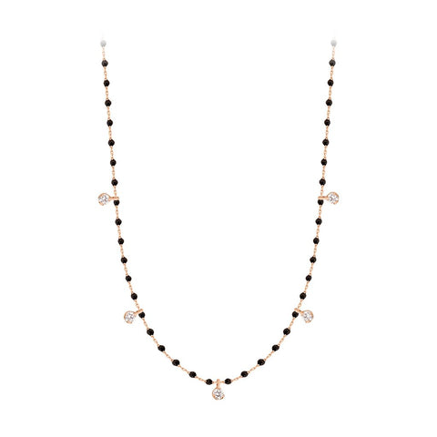 mini gigi necklace 5 diamonds 0.20kt black (18k RG) 22""
