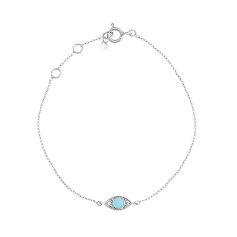 eye bracelet 2 diamonds 0.02kt turquoise (18k WG) 6.7""