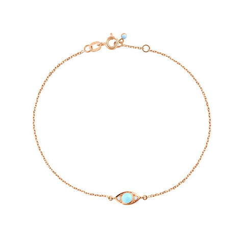 eye bracelet 2 diamonds 0.02kt turquoise (18k RG) 6.7""