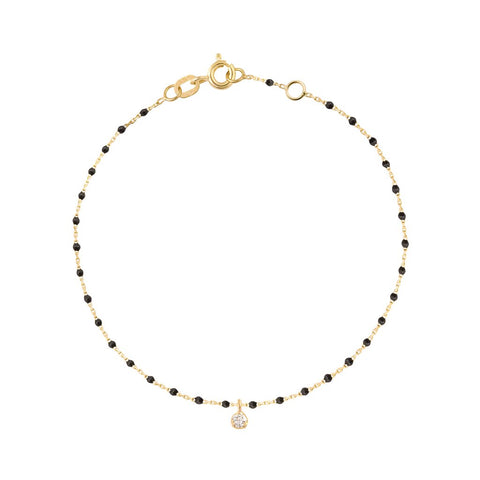mini gigi bracelet 1 diamond 0.04kt black (18k YG) 6.7""
