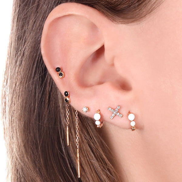 my diamond & resin pair of earrings 2 diamonds 0.01kt white (18k RG)