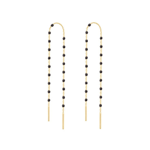 mini gigi pair of dancing earring black (18k YG)