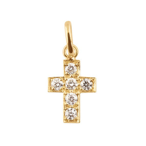 cross 6 diamonds 0.12kt pendant (18k YG)