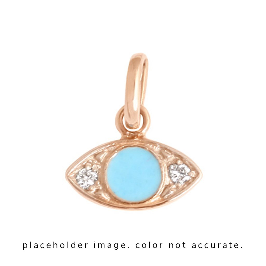 eye pendant 2 diamonds 0.02kt turquoise (18k YG)
