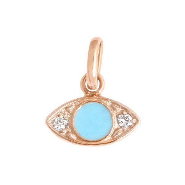 eye pendant 2 diamonds 0.02kt turquoise (18k RG)