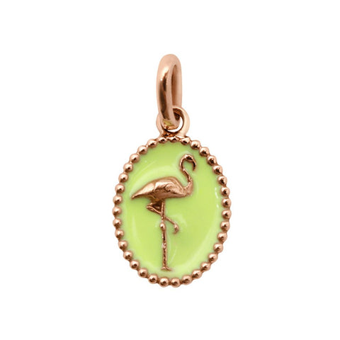 flamingo resin pendant lime (18k RG)