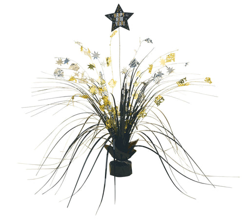 Black, Gold & Silver New Year's Spray Centerpiece