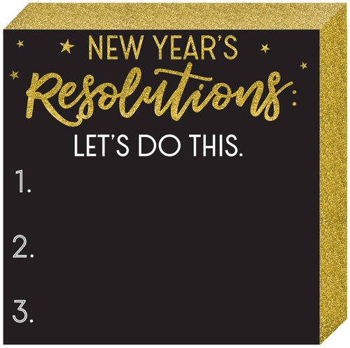 Glitter Gold New Year's Resolutions Chalkboard Sign