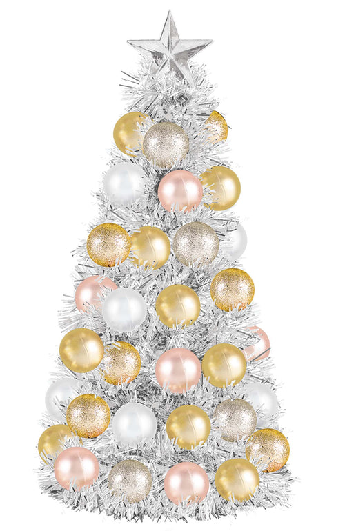 Gold, Rose Gold & Silver Tinsel Ornament Tree