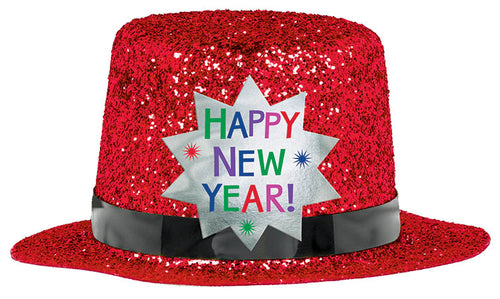 Red Happy New Year Glitter Mini Top Hat