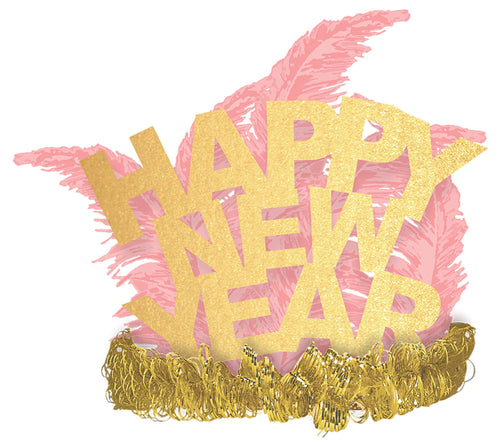 Gold & Pink Happy New Year Feather Tiara