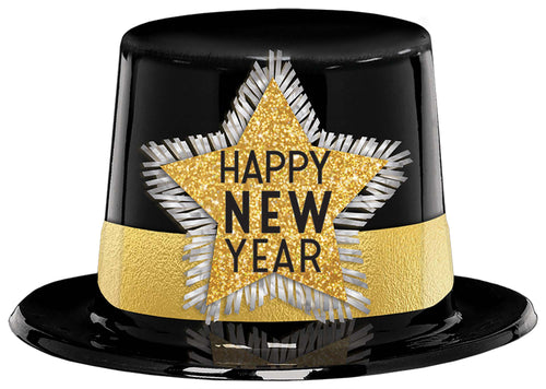 Glitter Black & Gold Happy New Year Top Hat