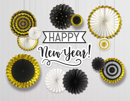 Happy New Year Paper Fan Decorating Kit 14pc