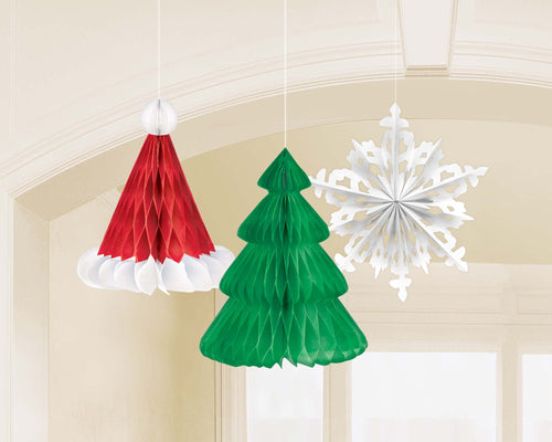 Christmas Hat, Tree, Snowflake Hanging Decorations
