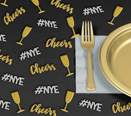 Glitter Gold & Silver New Year's Eve Table Scatter 24ct