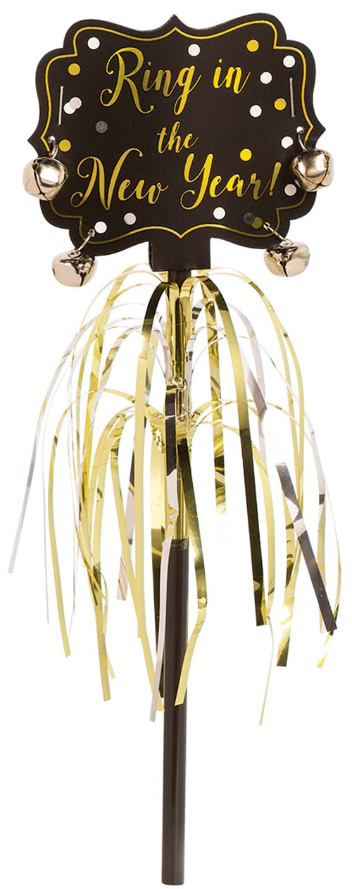 Metallic Black, Gold & Silver New Year's Jingle Bell Wand