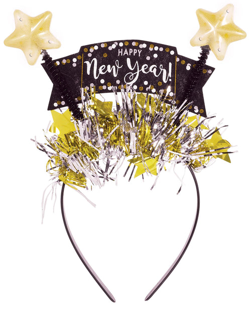 Light-Up Black, Gold & Silver New Year's Head Bopper