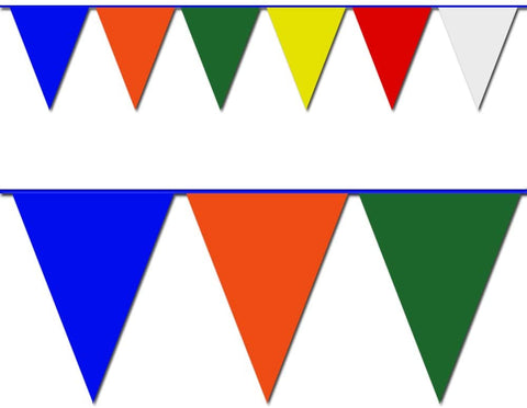 Commercial Red, White and Blue Triangle Pennant Banner - 100ft