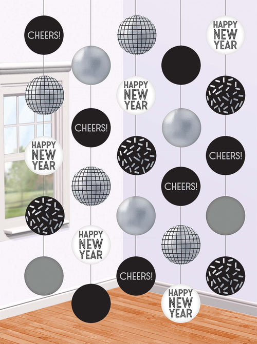 Black & Silver New Year's Eve String Decorations 5ct