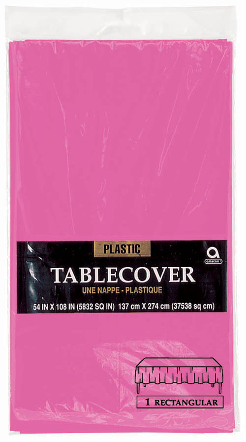 Bright Pink Plastic Table Cover