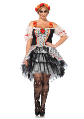 Plus Size Sugar Skull Senorita Costume - Day of the Dead