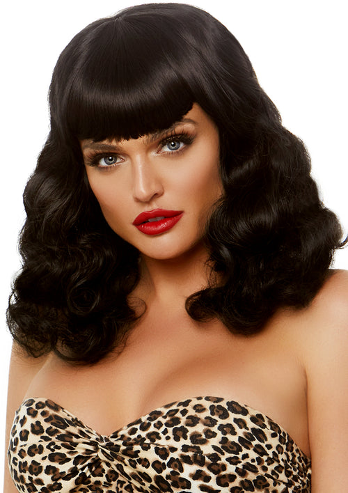 Retro Bang Curly Bob Wig
