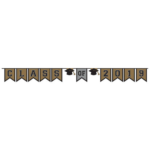 Black, Gold & Silver Class of 2019 Graduation Pennant Banner