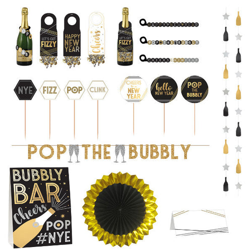 Black, Gold & Silver New Year's Eve Bar Decorating Kit 29pc