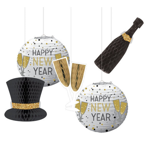 New Year's Eve Honeycomb Decorations & Paper Lanterns