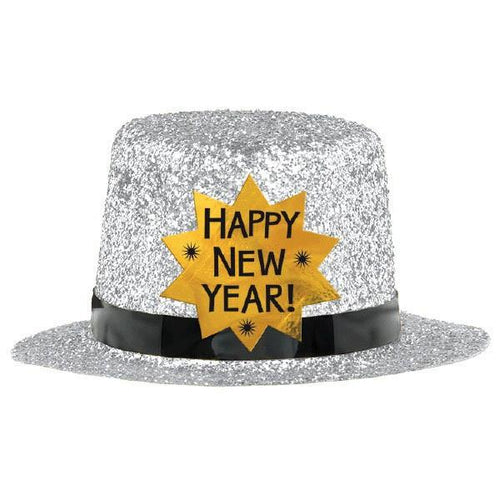 Silver Happy New Year Glitter Mini Top Hat