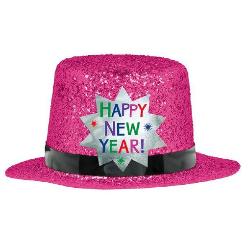 Glitter Pink Happy New Year Mini Top Hat