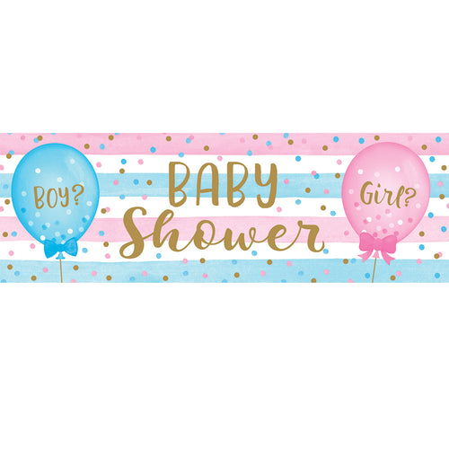 Gender Reveal Balloons Giant Party Banner