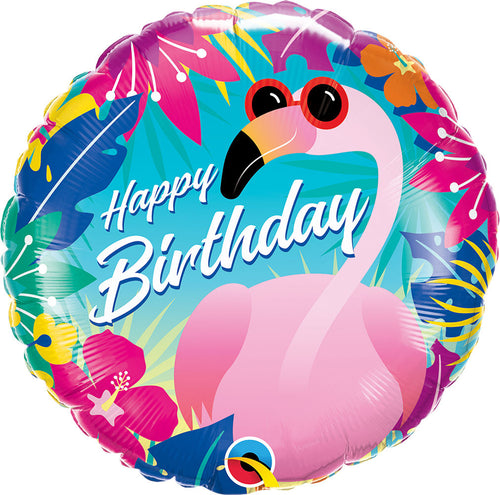 Tropical Flamingo Happy Birthday Mylar Balloon 18""