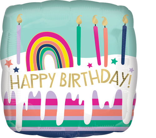 Happy Birthday Frosted Stripe Cake Mylar Balloon 18""