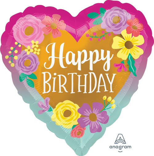 Happy Birthday Painted Flowers Mylar Balloon 18""