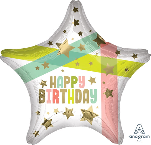 Happy Birthday Gold Stars Mylar Balloon 19""