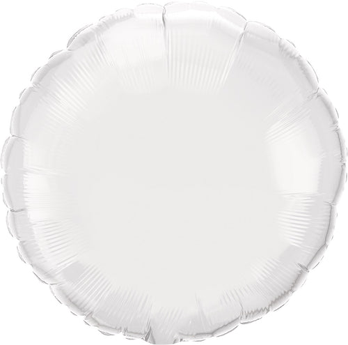 White Round Mylar Balloon 18""