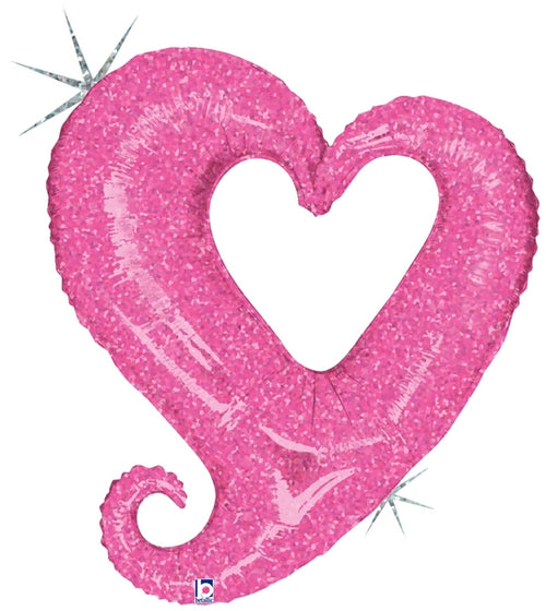 Giant Glitter Chain of Hearts Pink Balloon