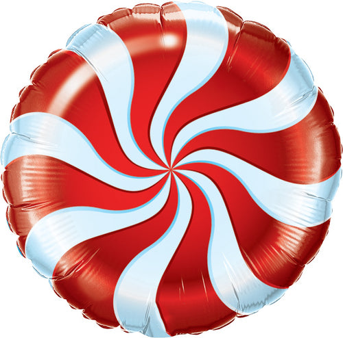 Red & White Swirl Candy Mylar Balloon 18""