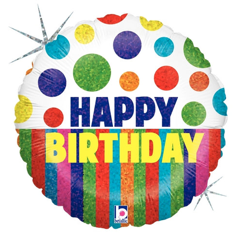 Happy Dots Birthday Stripes Balloon 18""
