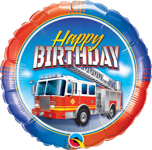 Happy Birthday Fire Truck Mylar Balloon 18""